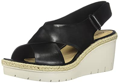 e0b4fc07b060 CLARKS New Women s Palm Glow Wedge Slingback Sandal Black Leather 6