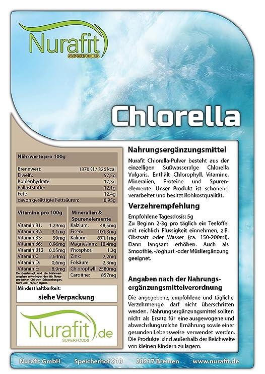 nurafit polvo de chlorelle | de muchos minerales y Vitamines | particulièrement praliné en un Smoothie verde | 100% vegana y 100% natural: Amazon.es: Salud ...