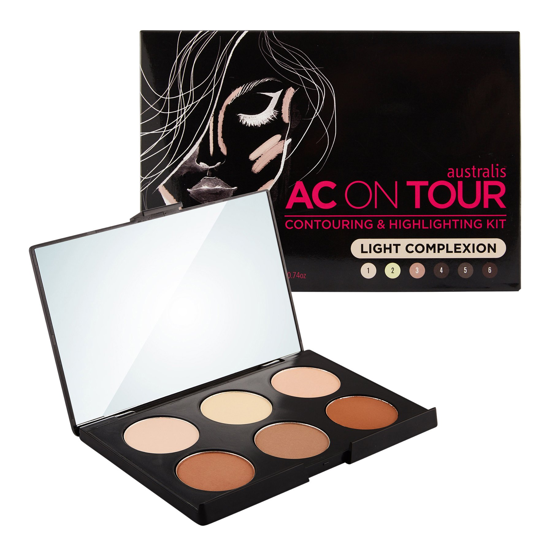 Australis AC On Tour Powder Contouring & Highlighting Healthy Glow Palette Makeup Cosmetics - Light