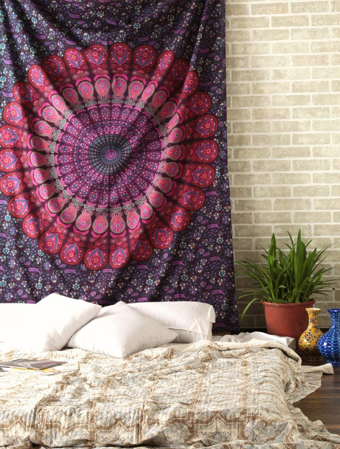 Wall Decor Ombre Mandala Wall Hanging Tapestry for Men and Women Elegant Boho Room Decoration Pink and Purple Tapestries 50x60 Inches