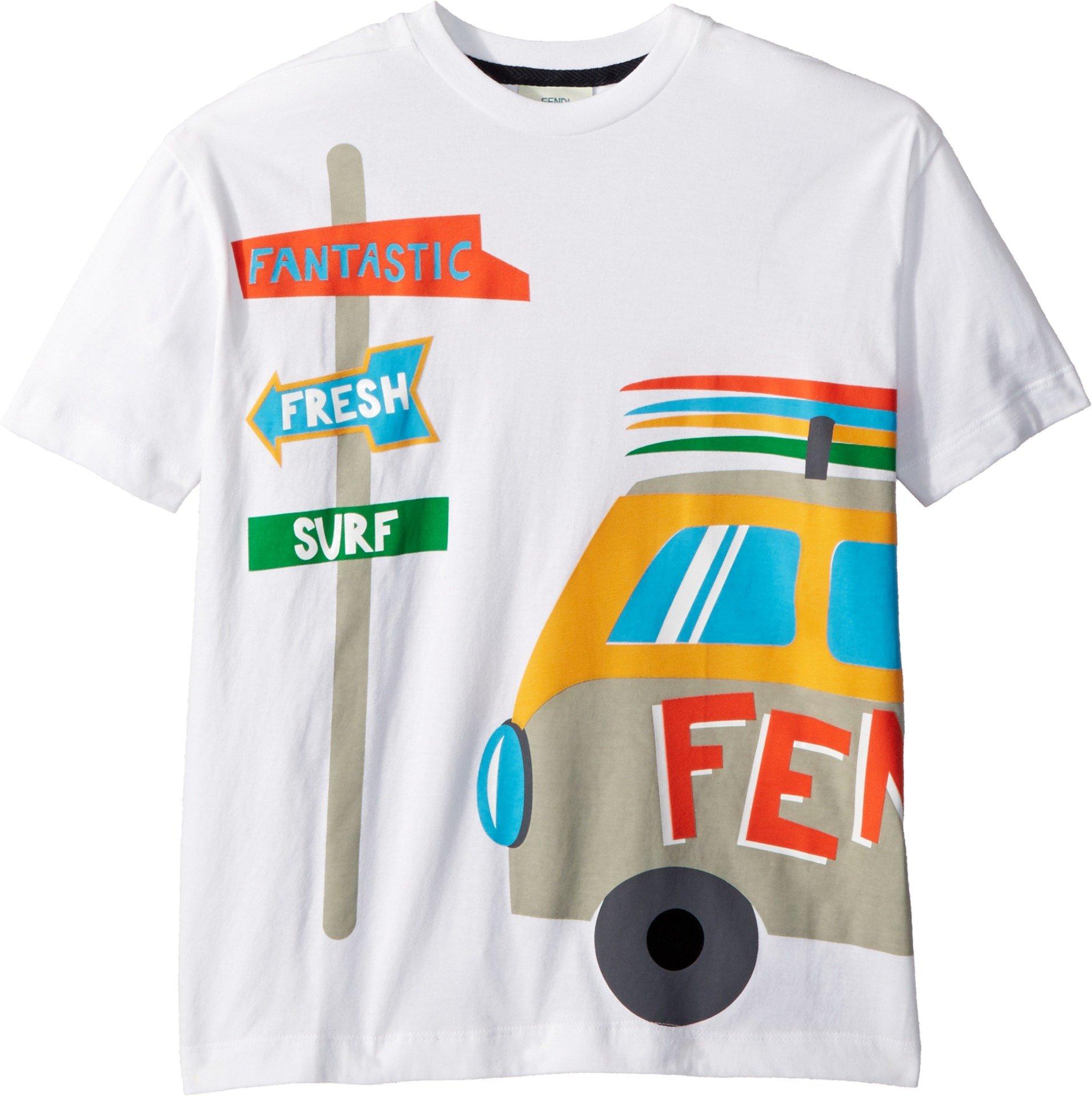 Fendi Kids Boy's Short Sleeve Logo Surf Van Graphic T-Shirt (Big Kids) White 12 Years