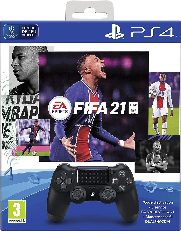 Points Fut Manette Dual Shock 4 Noir V2 Abonnement Ps+ 14 Jours pour PS4 Fifa 21