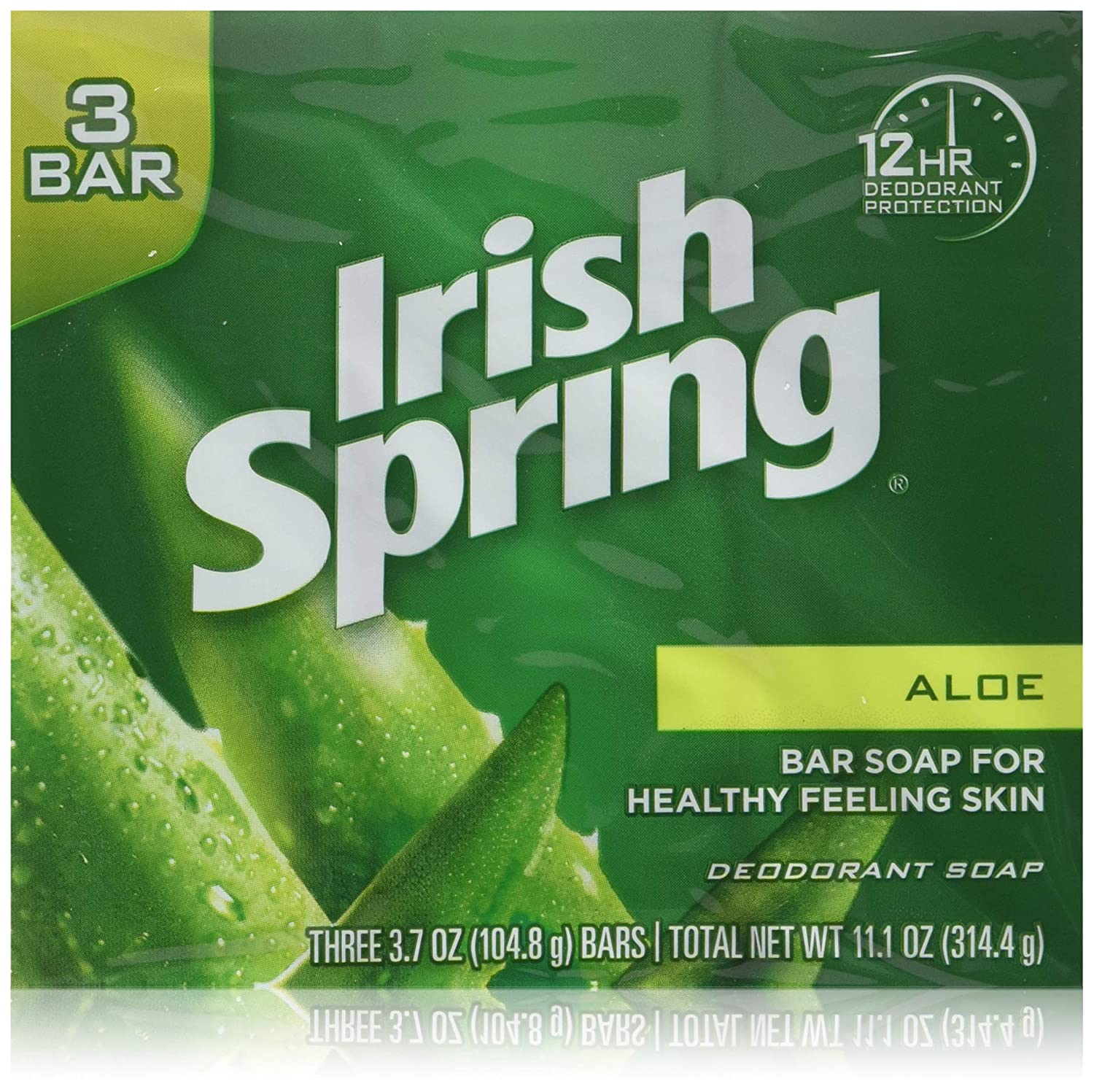 Irish Springs Aloe Bath Soap, 3 75 Oz  Bars, (2) 3 Bar Packages