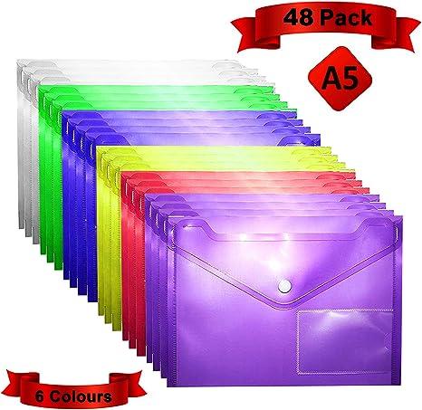 Carpetas Plastico (Pack de 48) - A5, 6 Colores Surtidos, Carpetas Transparentes para Documentos, Certificados, Recibos y Comprobantes: Amazon.es: Oficina y papelería