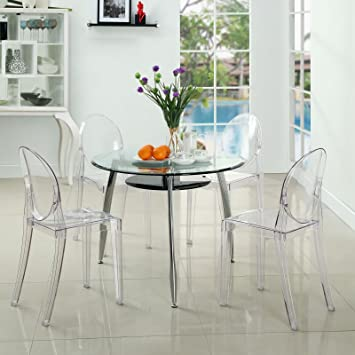 Modway Casper Modern Acrylic Stacking Four Kitchen and Dining Room Chairs  in Clear - Fully Assembled