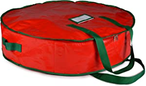 "Christmas Wreath Storage Bag - 24"" X 7"" - Durable Tarp Material, Zippered, Reinforced Handle and Easy to Slip The Wreath in and Out. Protect Your Holiday Wreath from Dust, Insects, and Moisture.…"