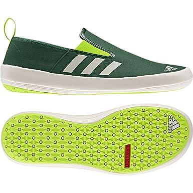 62e15469e679 Adidas Men s Boat Slip On Dlx Boat Shoes - Amazon Green  Chalk  Solar Slime  9