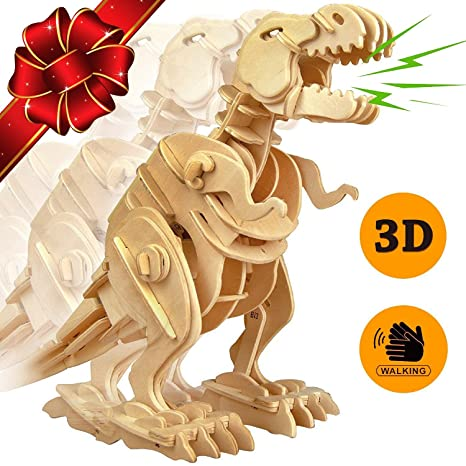 PONTE COLLECTION 3D Jigsaw Puzzle Wood DIY Craft Kit Dinosaur Sound Control Toy Walking Wooden