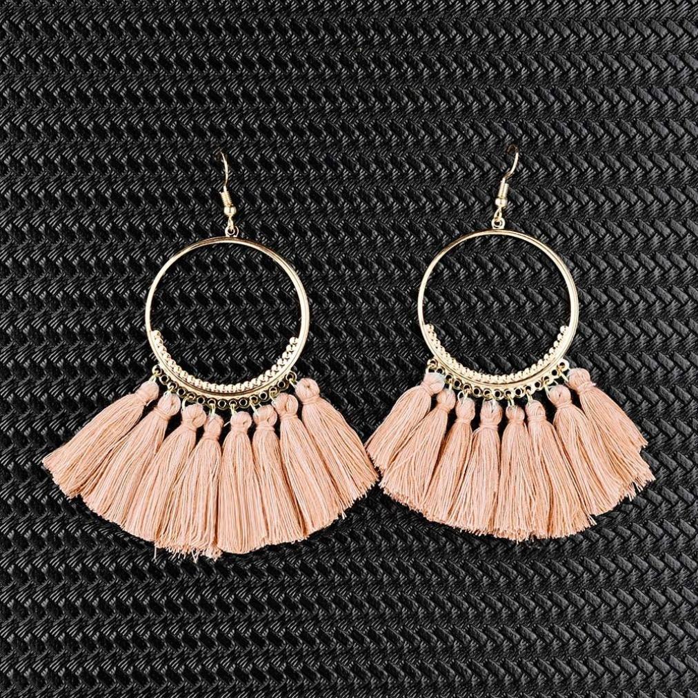 ManxiVoo Large Hoop Earrings Gold Fashion Jewelry Women Girl Tassel Earrings Boho Fringe Dangle Earrings
