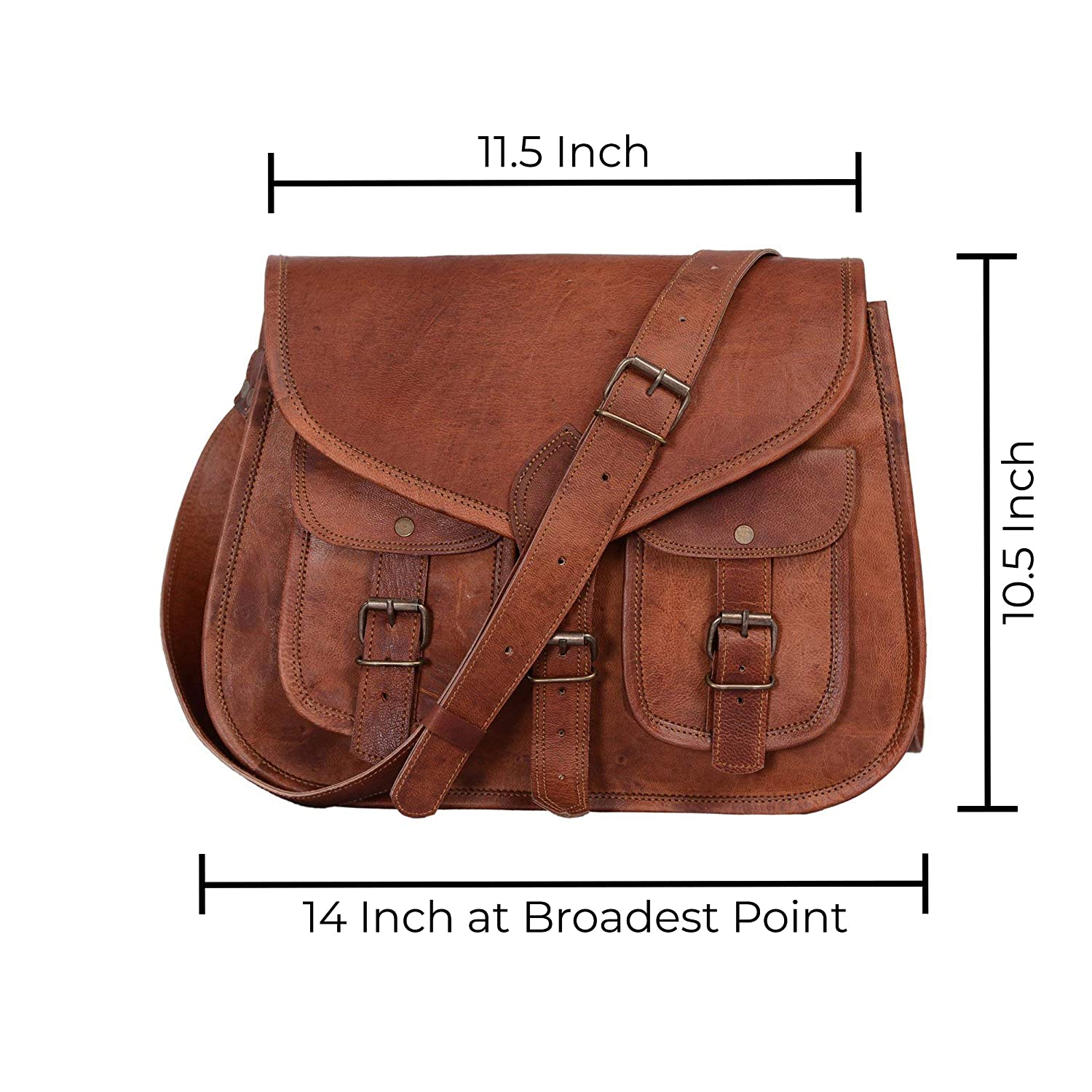87373d4a4d13 KPL 14 Inch Leather Purse Women Shoulder Bag Crossbody Satchel Ladies Tote  Travel Purse Genuine Leather (Tan Brown)