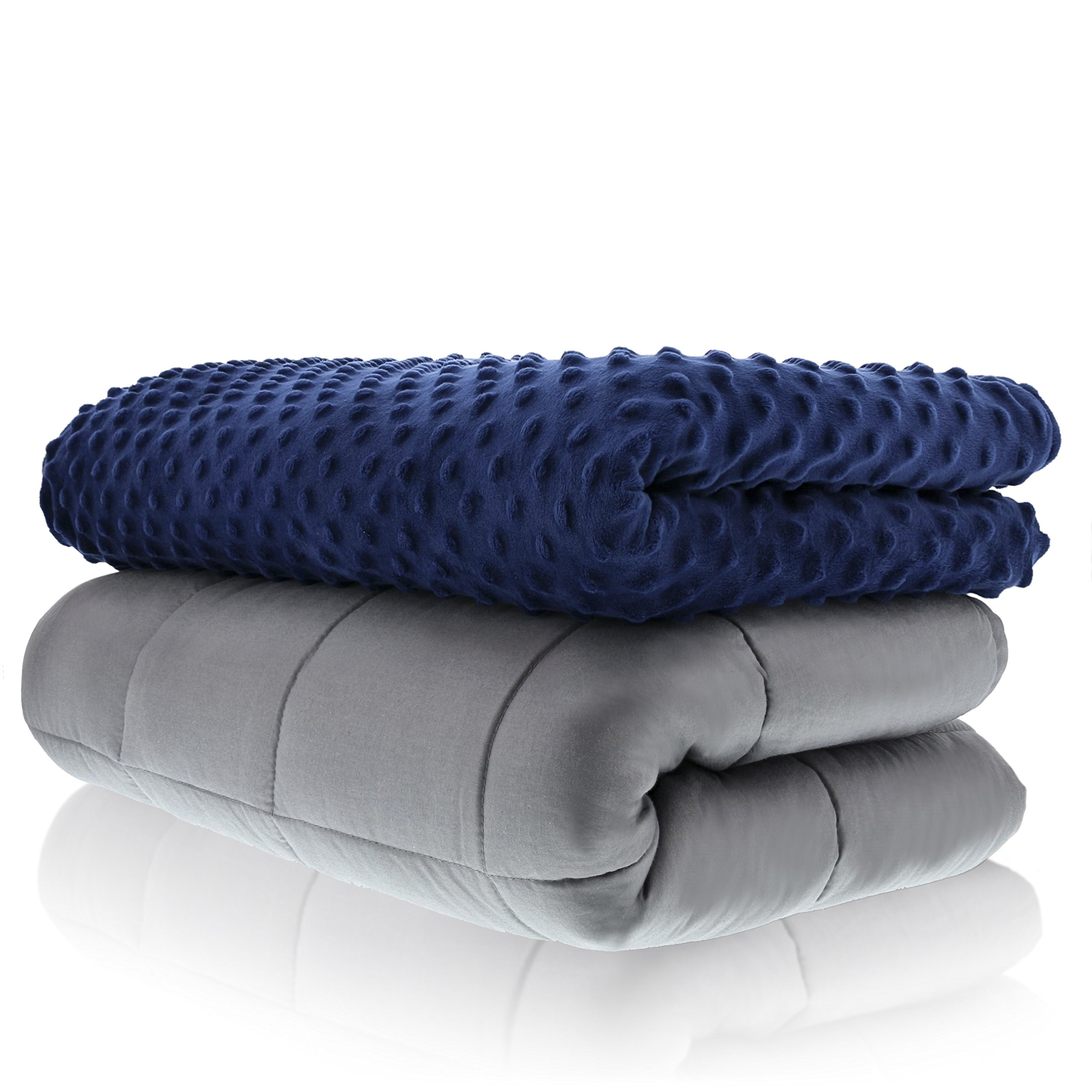 Sonno Zona Weighted Blanket Adult Size - for Natural Calm - Blankets Made from Relaxation Sleep Fabric (Navy, 48x72-15 LB)