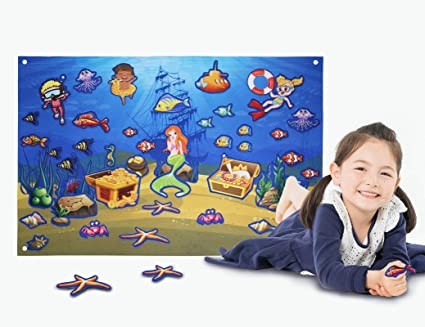Kids Flannel Felt-Board Ocean Stories Sets for Toddlers Preschool Large Wall Hang Storyboard as Children Learning Storytelling Activity Play Kits