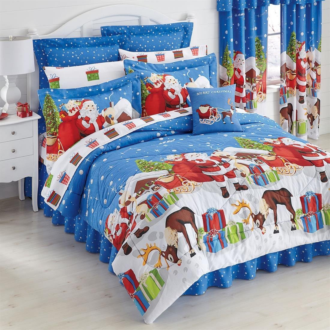 amazoncom blue santa claus reindeer christmas presents twin comforter set 6 piece bed in a bag home kitchen - Christmas Bedding Holiday Bedding