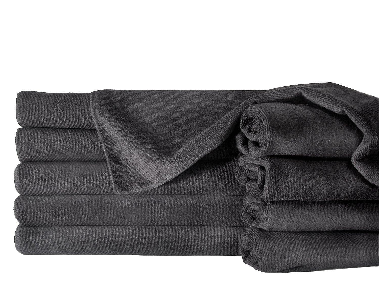 Towels by Doctor Joe ULTRA-15BLK Safe-2-Bleach Deep Black 16x27 Microfiber Salon Towel - Pack of 12