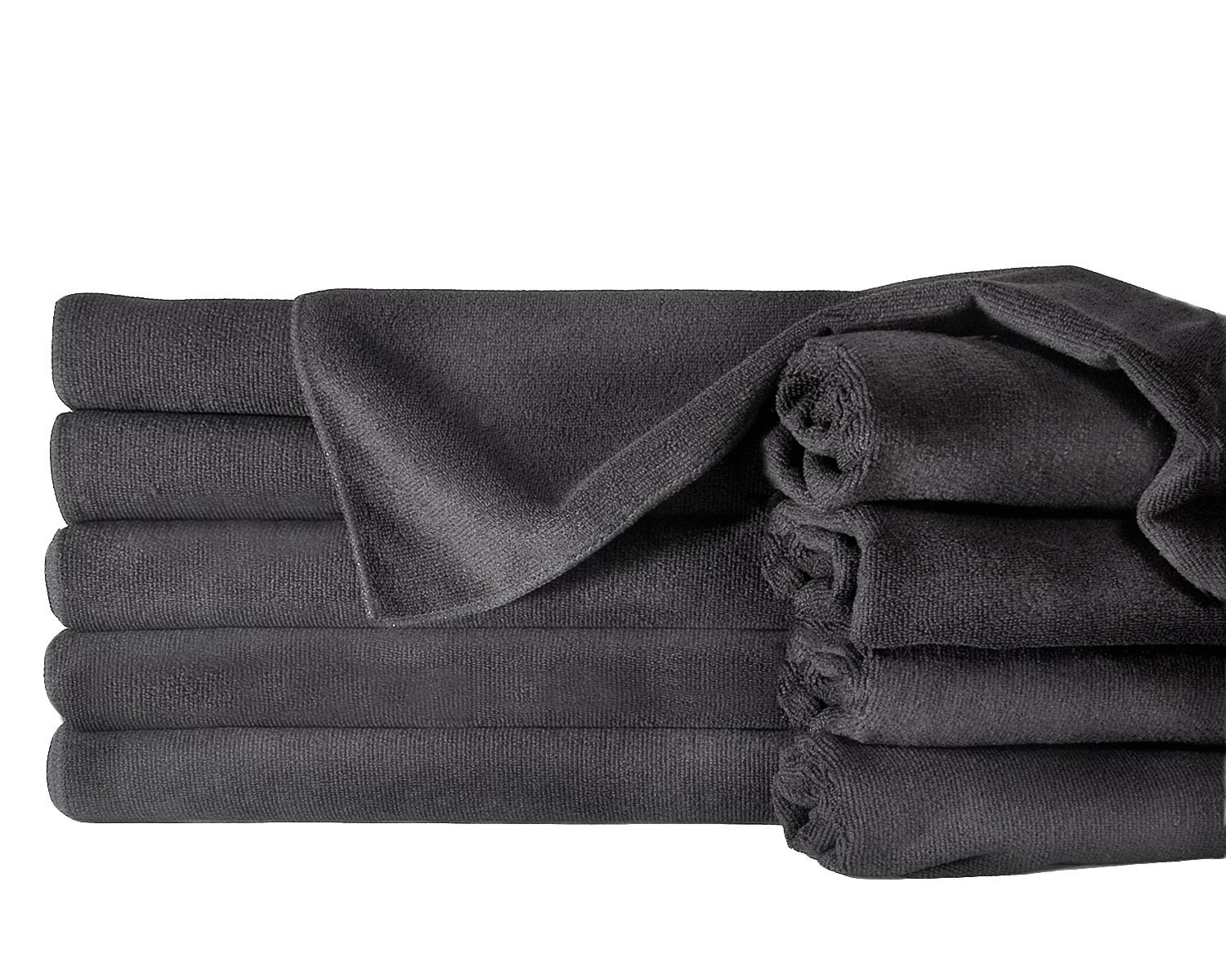 Towels by Doctor Joe ULTRA-15BLK Safe-2-Bleach Deep Black 16''x27'' Microfiber Salon Towel - Pack of 12
