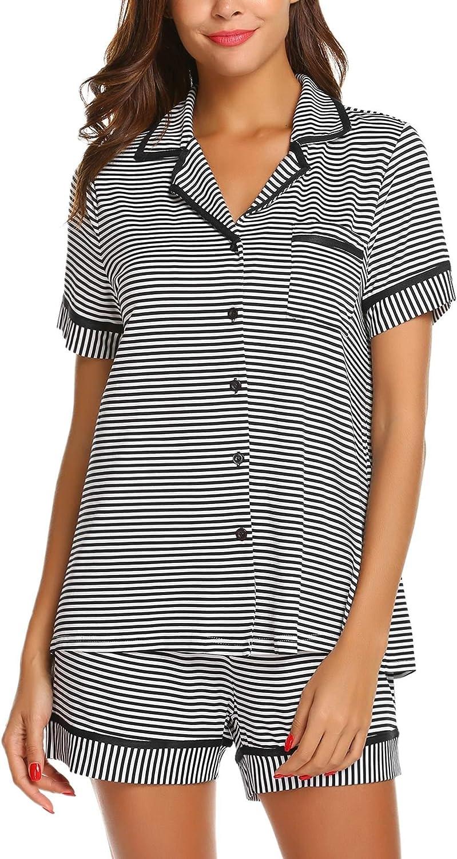 TIKTIK Womens Pajama Set with Pocket Striped Short Sleeve Sleepwear Pjs Sets S-4XL