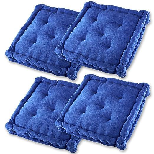 Gräfenstayn® Set de 4 Cojines, Cojines para Silla de 40 x 40 x 8 cm para Interior y Exterior de 100% algodón cojín Acolchado/cojín para el Suelo ...