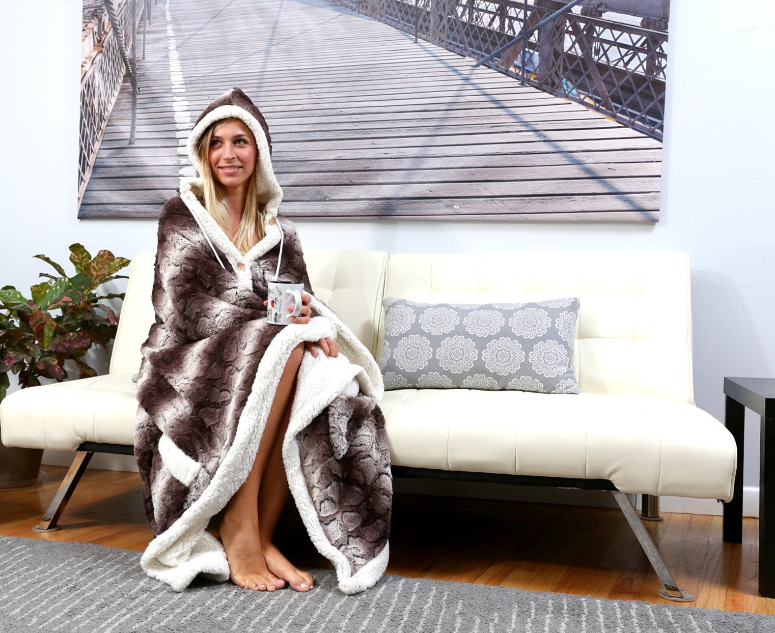 Chic Home Derek BRAND NEW!! Ultra plush sherpa lined Snuggle up animal print hoodie wearable blanket 51''x71'' Robe Brown by Chic Home