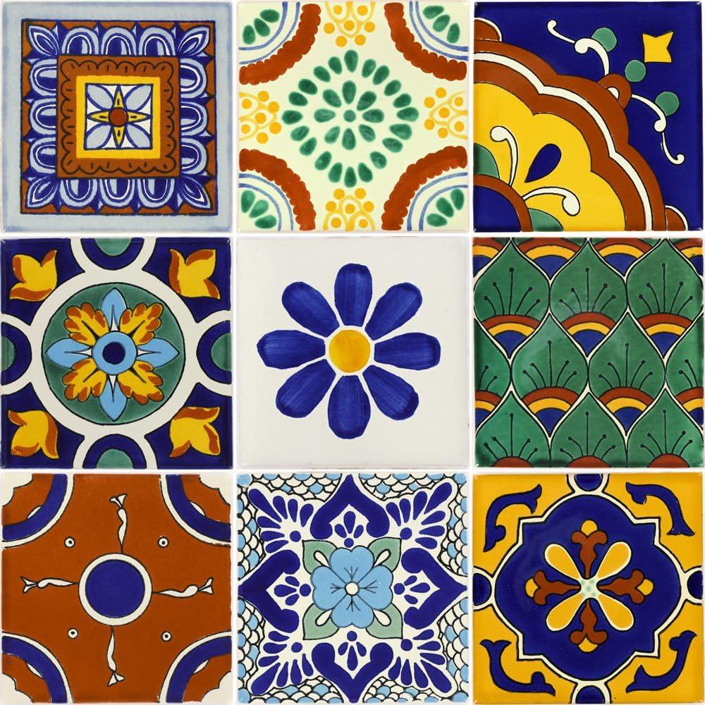 Talavera 9 Ceramic Mexican Tiles 4/¼ x 4/¼ in Nine Tierra y Fuego Tile Set
