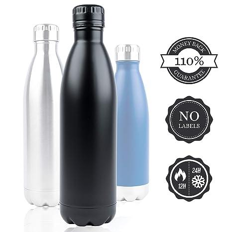 Botella Negro 750ml Acero Inoxidable - Caño seguro Botella de agua 0.75l aislado - 110% Premium garantía. Sin BPA, Exterior, deportes con bambú Tapa, ...