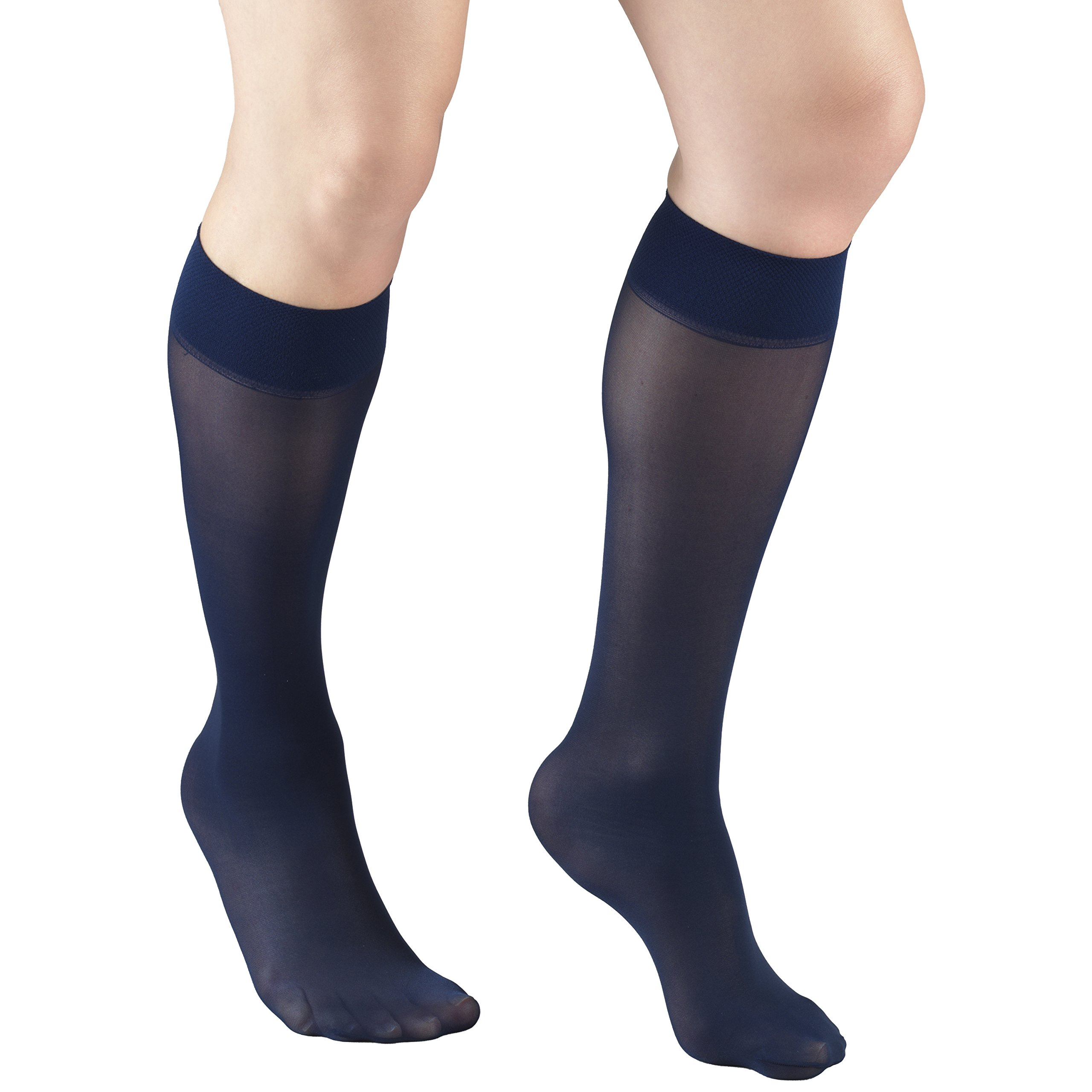 Truform Women's 8-15 mmHg Sheer Knee High Compression Stockings, Navy, X-Large