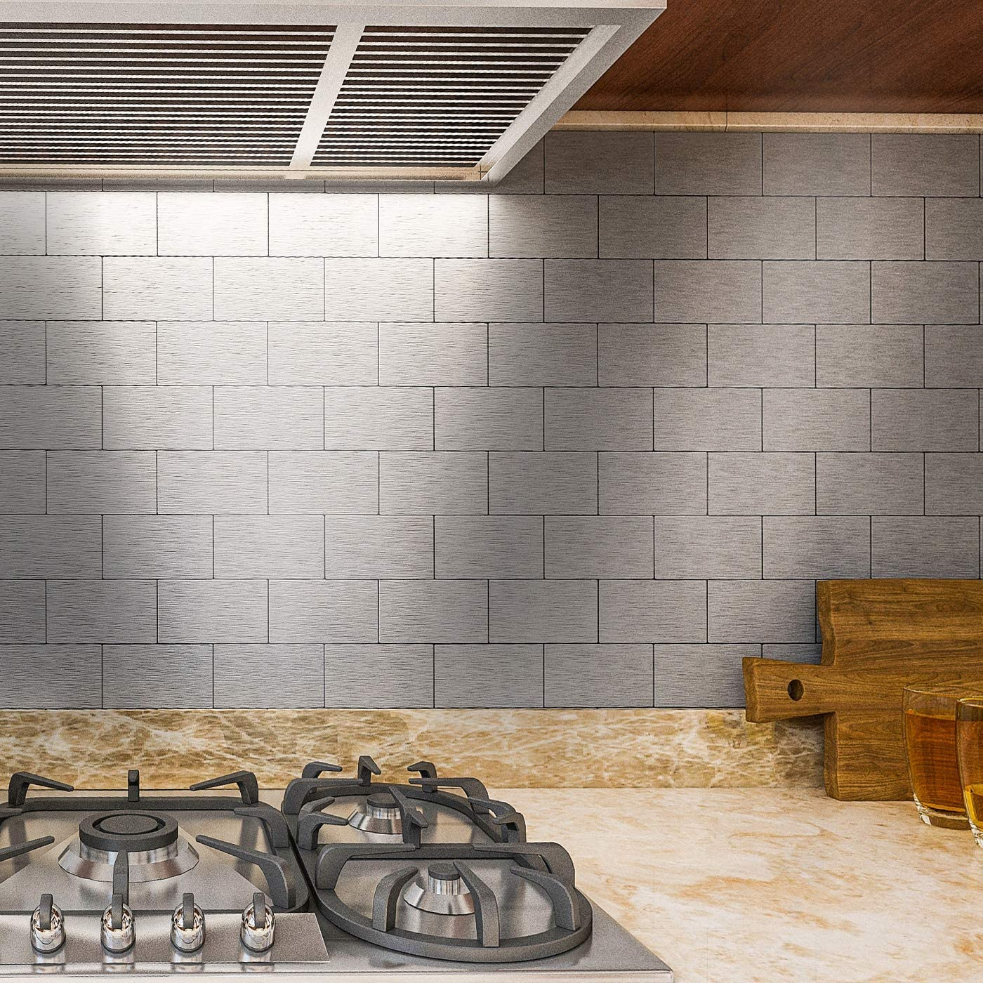 Art3d 32 Piece Peel And Stick Backsplash Tiles Brushed Metal Subway Tile For Kitchen 3 X6 Silver Amazon Com