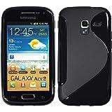 PhoneNatic Samsung Galaxy Ace 2 Hülle Silikon schwarz S-Style Case Galaxy Ace 2 Tasche + 2 Schutzfolien