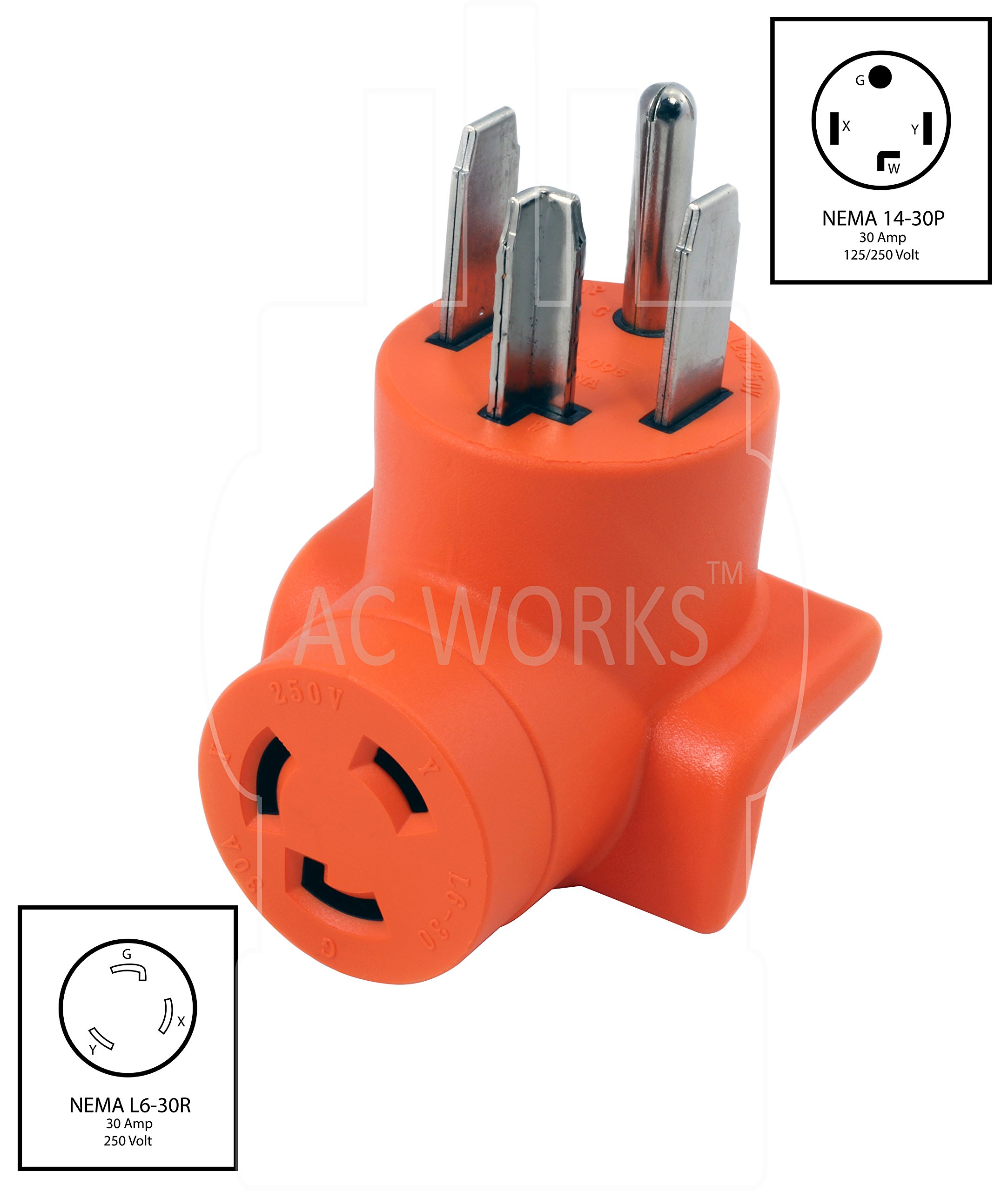 AC WORKS [AD1430L630] Plug Adapter NEMA 14-30P 4-Prong 30Amp Dryer Outlet to L6-30R 30Amp 250Volt Locking Female Connector by AC WORKS (Image #2)