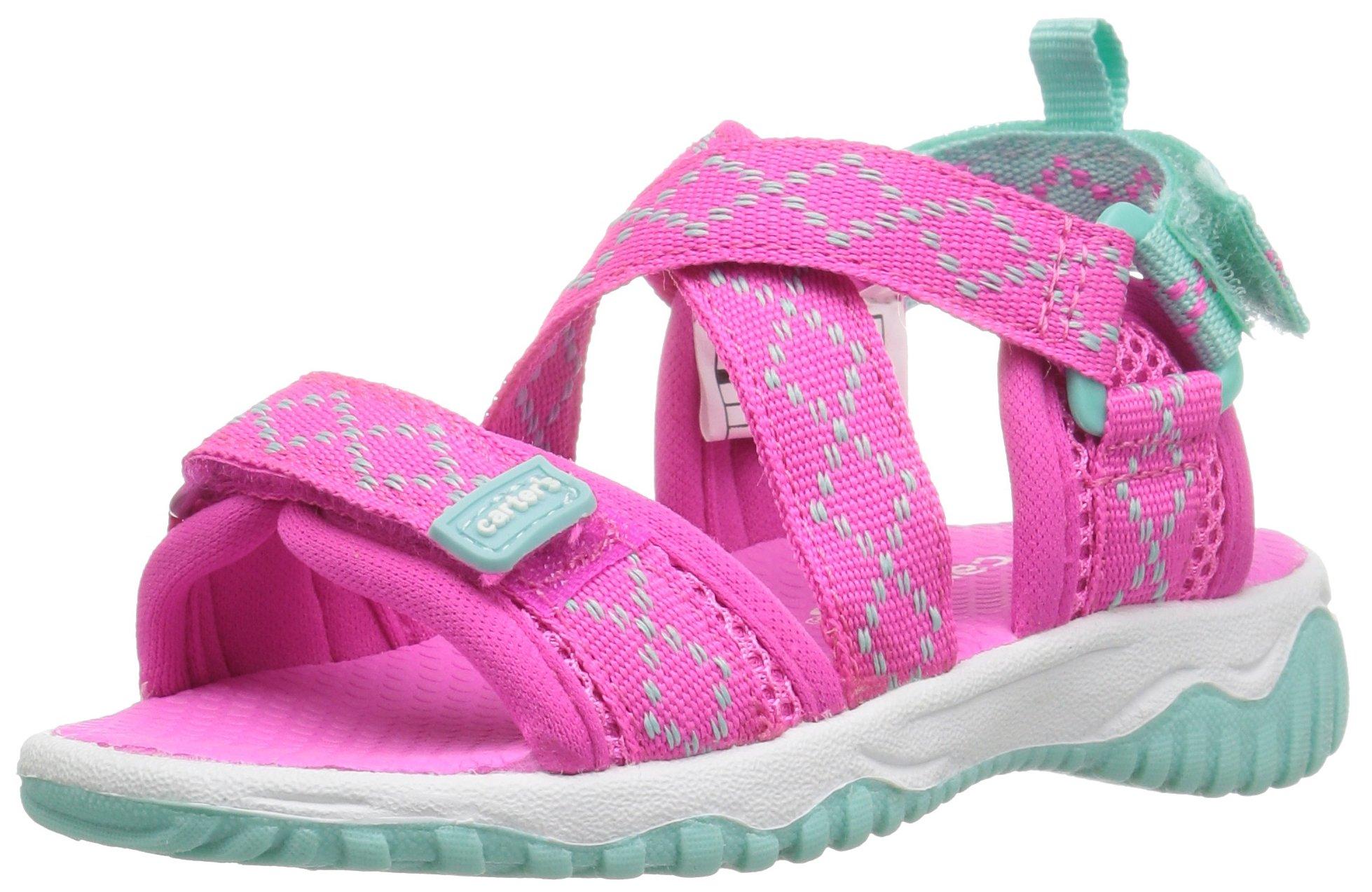 carter's Splash Girl's and Boy's Athletic Sandal, Pink/Turquoise, 12 M US Little Kid