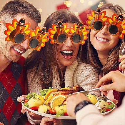 4 Pares de gafas con forma de pavo para fiesta de acción de  gracias.