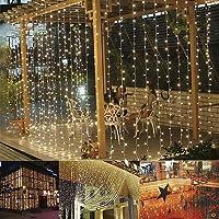 B-right Cortina de Luces, 3M*3M, 300 LEDS, Blanco Cálido, 8 Modos de Luces, Resistente al Agua,Cortina Luces LED para Decoración de Ventana, Patio, Jardín,Bar, Navidad, Día de San Valentín, Boda,etc