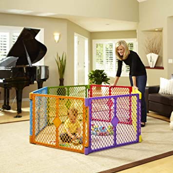 North States Superyard Colorplay 6 Panel Play Yard: Safe Play Area Anywhere    Folds