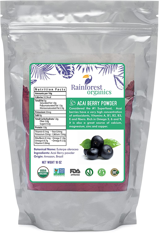 Rainforest Organics Certified Organic Acai Berry Powder 1 Pound Natural Superfood Juice Powder