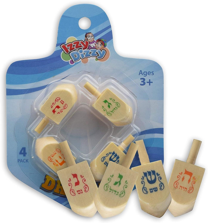 Izzy n Dizzy Hanukkah Dreidels 4 Pack Medium Blue and White Wooden Dreidel