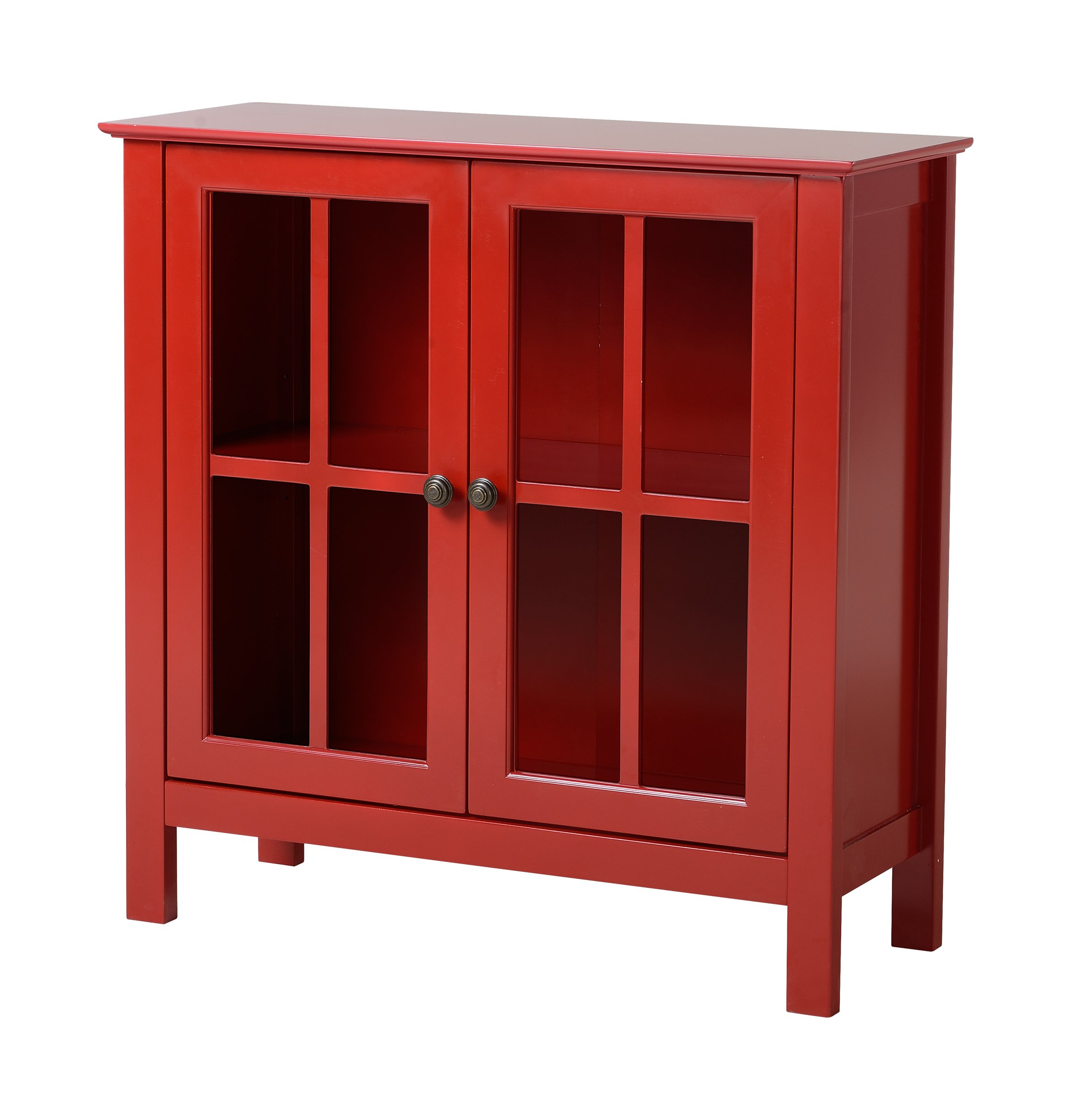 American Furniture Classics OS Home and Office Glass Door Accent and Display Cabinet, Red Paint by American Furniture Classics