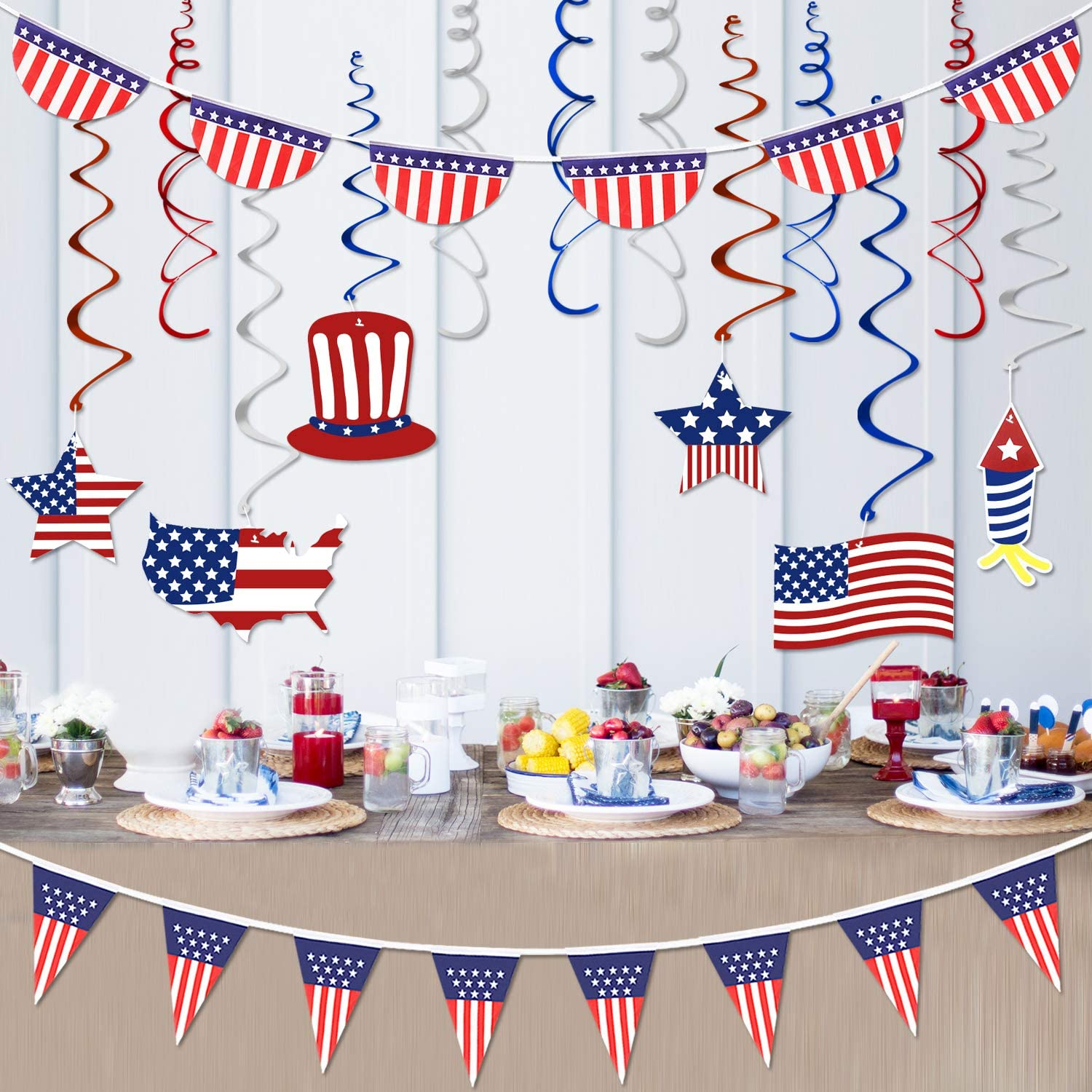 Amazon Com 4th Of July Decorations Patriotic Decorations Fourth Of July Patriotic Party Decorations Supplies Include 1hanging Swirl Kit 12pcs 1 American Usa Polyester Bunting Pennant 1 Half Fan Patriotic Bunting