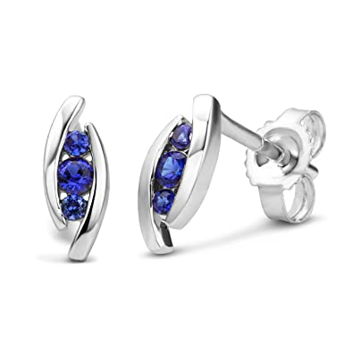 Miore Ladies 9ct White Gold Pear shape Sapphire Earrings MG9229E OrYAh5uO