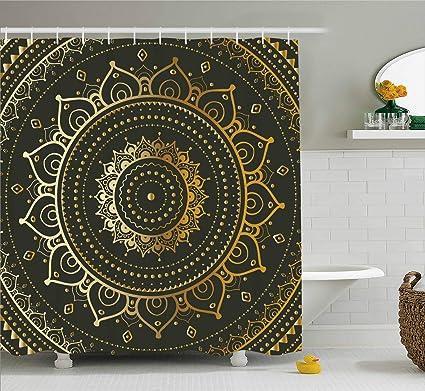 Ambesonne Gold Mandala Shower Curtain By Large Circular Tribal Figure Ancient Spiritual Harmony Symbol Asian