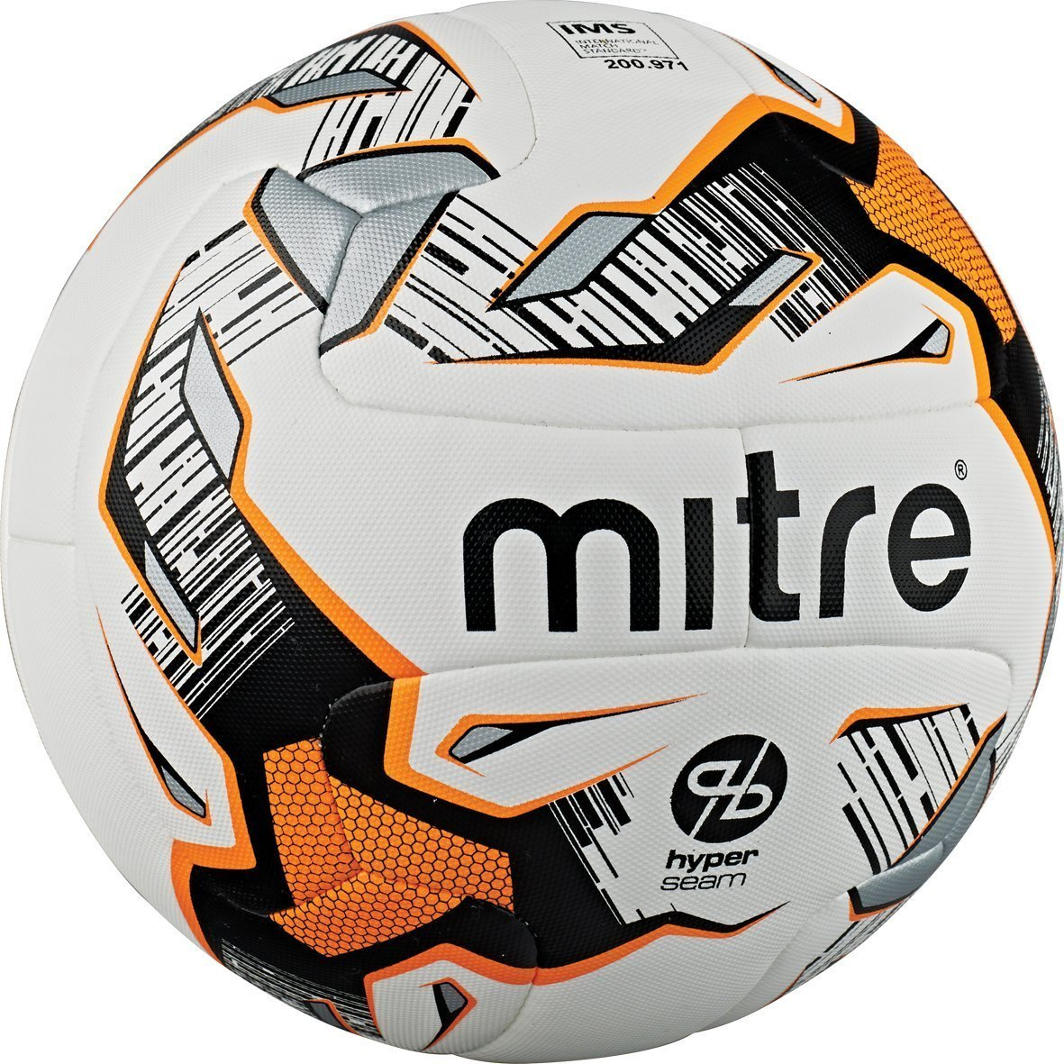Mitre Ultimatch Hyperseam Soccer Ball, White/Black/Orange, Size 4 by mitre (Image #1)