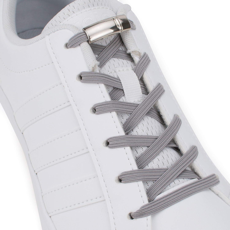 Lacets en caoutchouc pour toutes les chaussures Lacets en silicone Kit de lacets pour chaussures sans n/œud Sans liaisons SULPO Lacets /élastiques en silicone avec fermeture magn/étique en m/étal