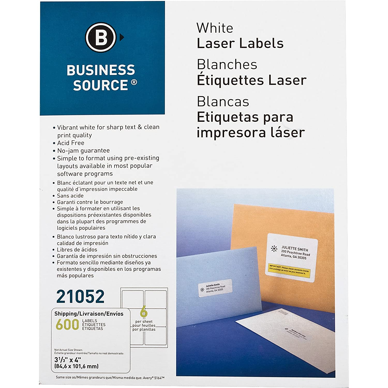 25b1b26b2ff0 Business Source White Laser Shipping Labels - Pack of 600 (21052)