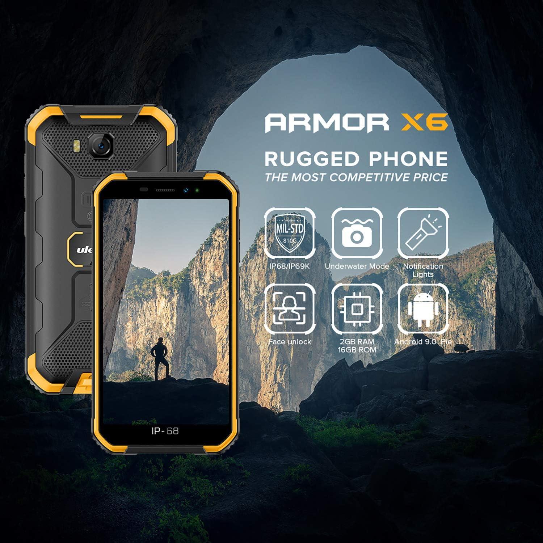 Ulefone Armor X6 Android 9.0 Dual SIM, 2 GB + 16 GB, pantalla de 5,0 pulgadas, reconocimiento de cara, luz LED, resistente al agua, teléfono a prueba de golpes, negro: Amazon.es: Electrónica