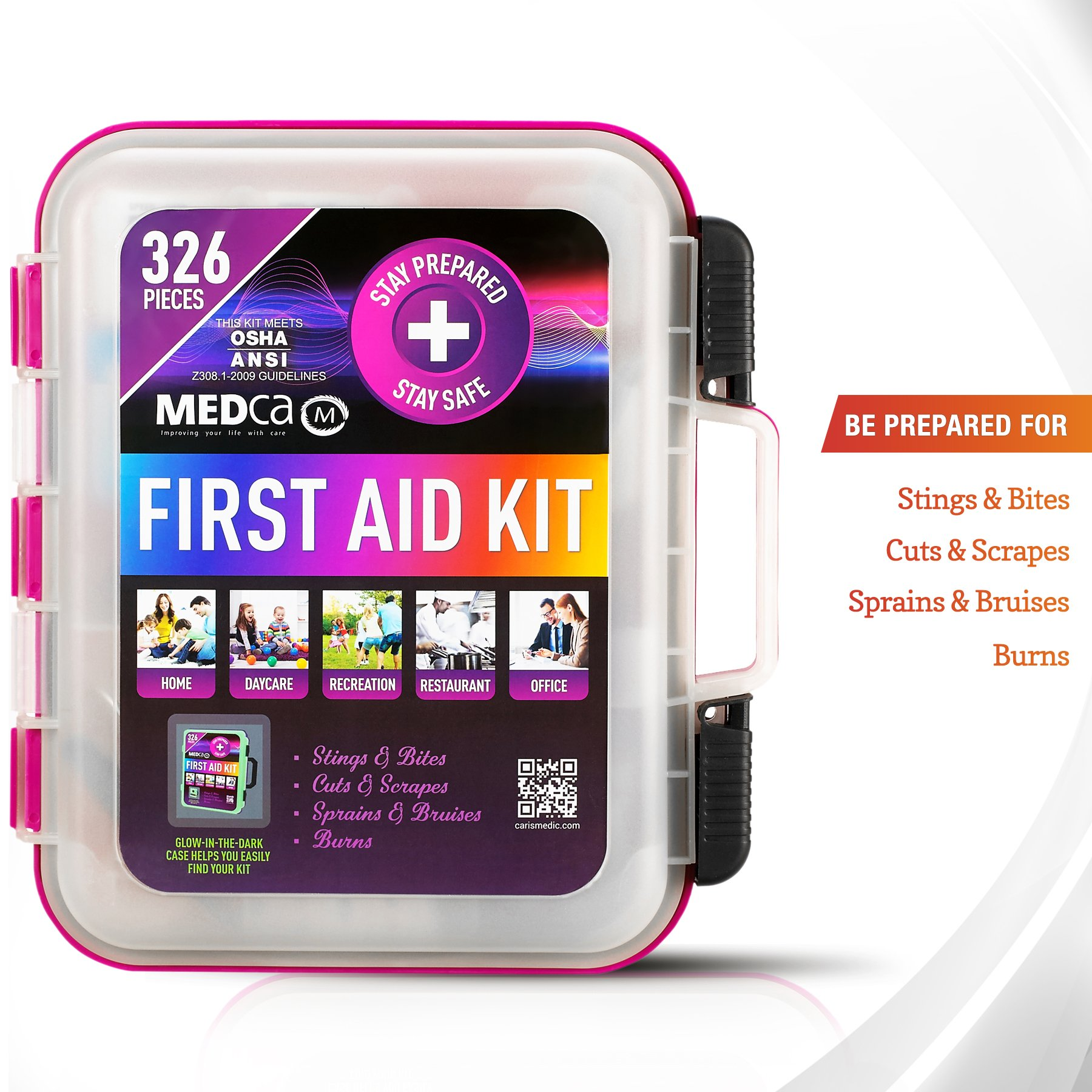 First Aid Kit - Emergency First Aid Kit and Medical Kit Exceeds ANSI Z308.1-2009 OSHA Standards, Hard Case, Wall Mount & Glows in The Dark for Offices, Home, Schools, Daycare, Construction Sites by MEDca (Image #5)