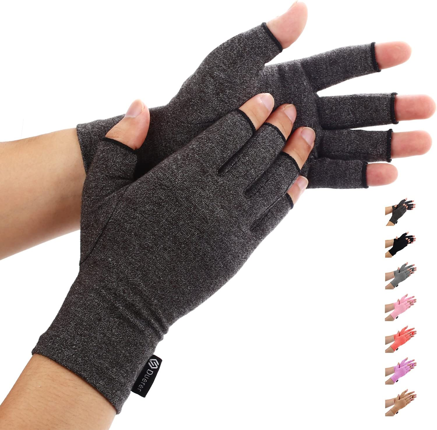 Duerer Arthritis Gloves Women Men for RSI, Carpal Tunnel, Rheumatiod, Tendonitis, Fingerless Hand Thumb Compression Gloves Small Medium Large XL for Pain Relief (Medium, Black)