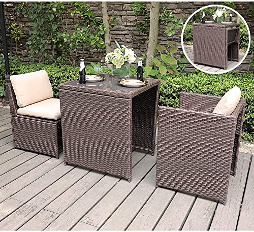 SUNSITT Outdoor Wicker Bistro Table Set 3 Piece Patio Furniture Set with Cushions, Space Saving Design, Garden Balcony Porch Furniture Brown