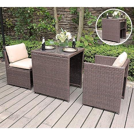 Prime Amazon Com Sunsitt Outdoor Wicker Bistro Table Set 3 Piece Home Interior And Landscaping Ponolsignezvosmurscom