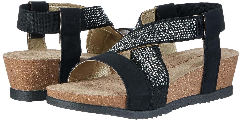MARCO TOZZI Damen 28734 Offene Sandalen mit mit Sandalen Keilabsatz Schwarz (schwarz 001) 79757c
