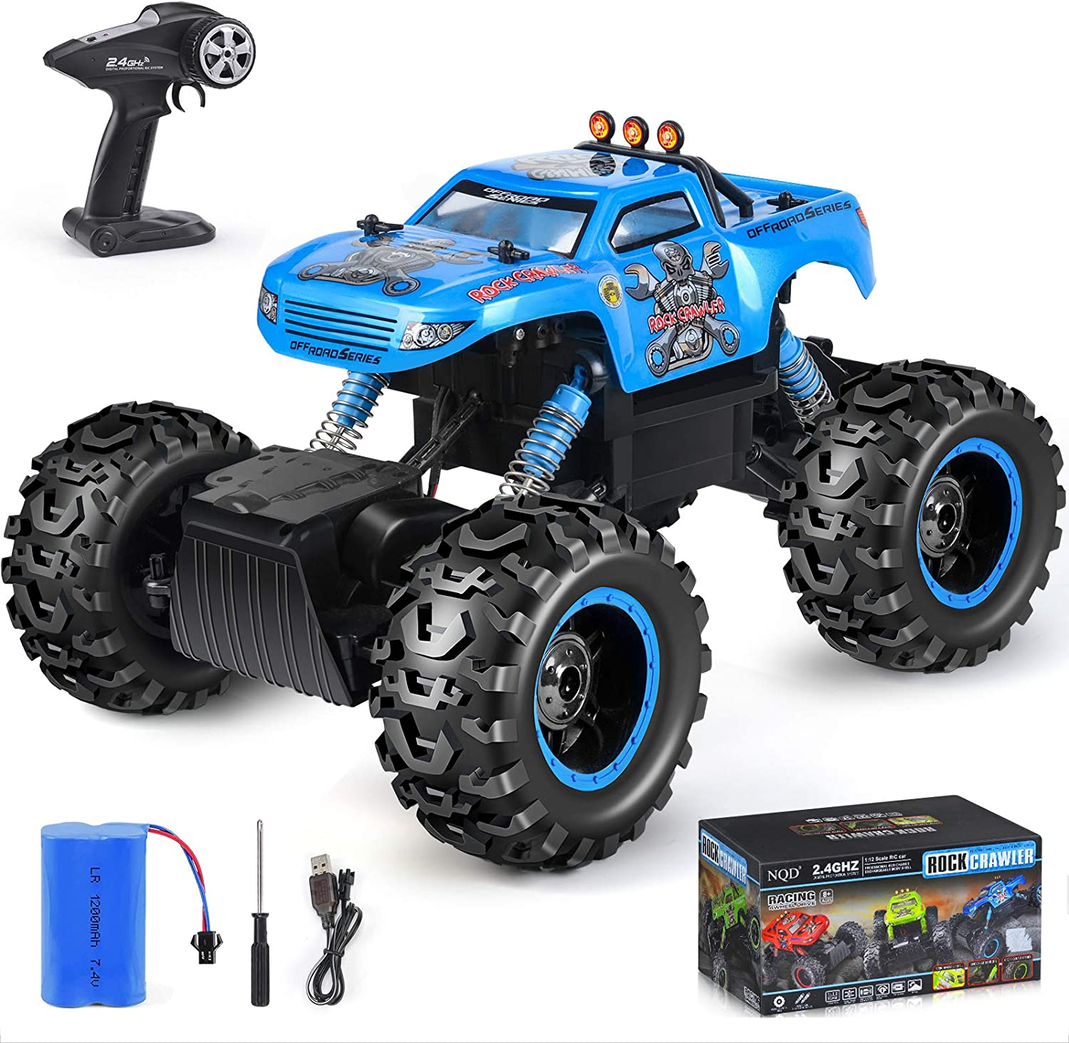 Amazon Com Nqd Rc Car Remote Control Monster Trucks 1 12 Big Scale 4wd Off Road Rock Crawlers 2 0ghz Radio Remote Control Car High Speed Racing All Terrain Climbing Car Gift For Boys Toys