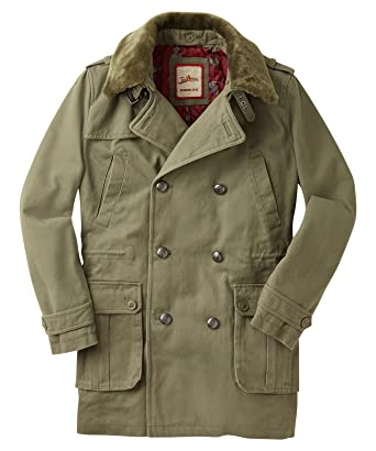 b750a0a7bc91d Joe Browns Men's Double Breasted Military Styled Trench Coat with Faux  Short Fur Collar M (