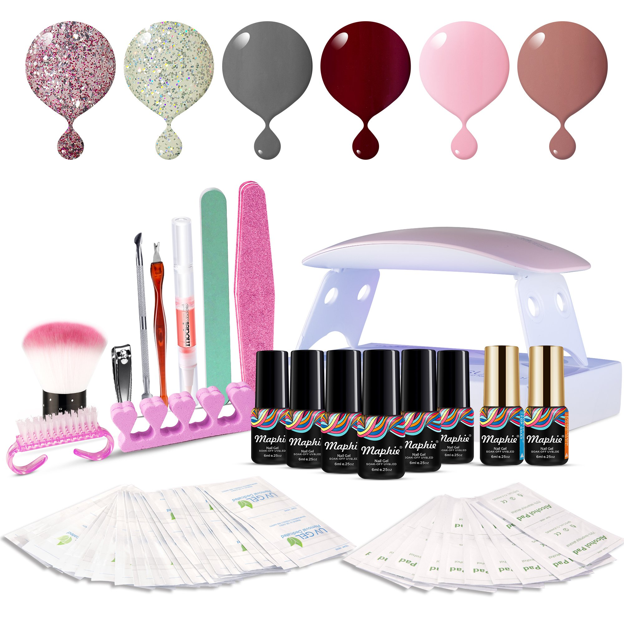 Maphie UV Nagellack Starter Set Kit Mit UV/LED lichthärtungsgerät Mini Nageltrockner Top Coat Base Coat und 6 Gellacke product image